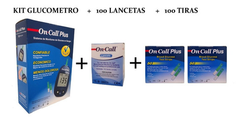 Glucometro Digital On Call Plus + 100 Tiras + 100 Lancetas
